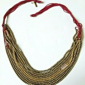 Kenneth Cole Signed Brass Bead Necklace Adjustable